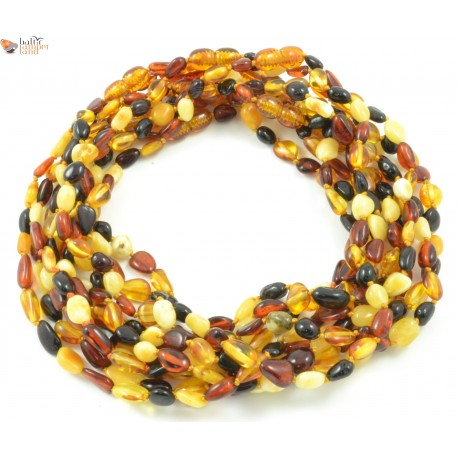 Wholesale LOT of 10 Polished Multicolor Olive (Bean) Style Amber Baby Necklaces