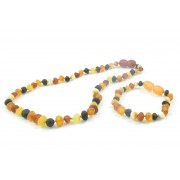 Multicolor Baroque Amber Baby Necklace and Bracelet Set