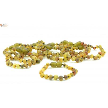 Wholesale LOT of 10 Raw Green Baroque Amber Teething Bracelets / Anklets
