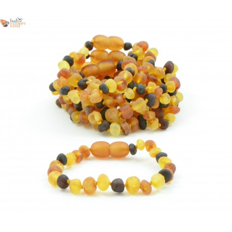 Wholesale LOT of 10 Raw Multicolor Baroque Amber Teething Bracelets / Anklets