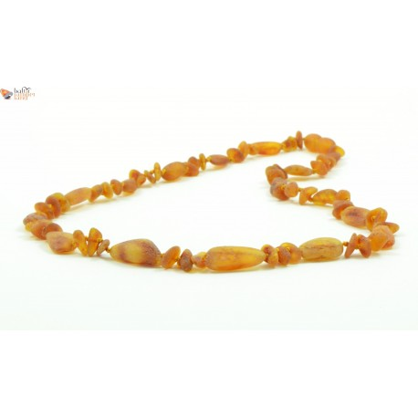 Raw Baroque and Olive Mix Amber Necklaces