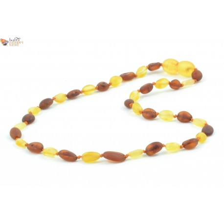 Raw Bean Mix Amber Teething Necklace