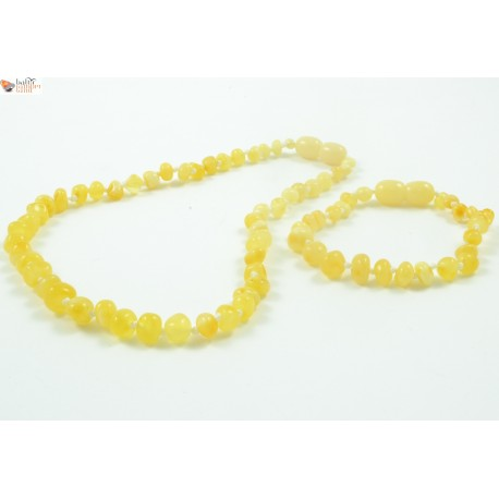 Milky Baroque Amber Teething Necklace and Bracelet Set