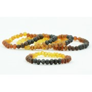 Wholesale LOT of 5 Unpolished Rainbow Amber Adult Bracelets in Baroque Style