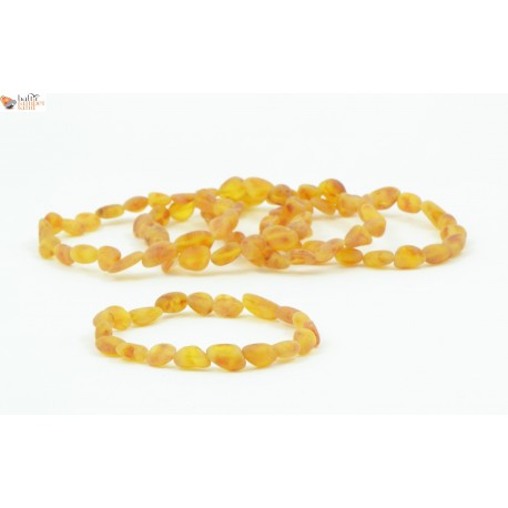 Wholesale LOT of 5 Raw Cognac Amber Adult Bracelets in Bean Style