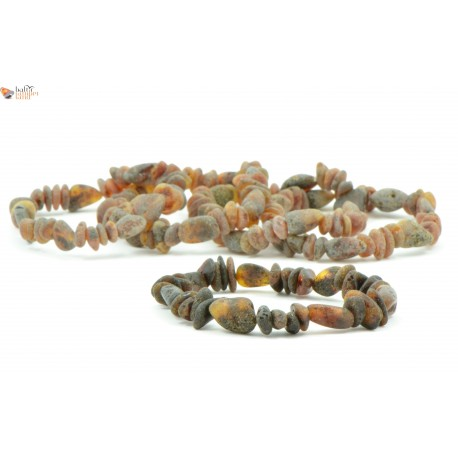 Wholesale LOT of 5 Raw Green Baroque and Bean Mix Amber Adult Bracelets