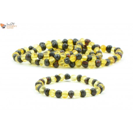 Wholesale LOT of 5 Baroque Lemon and Cherry Amber Adult Bracelets