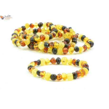 LOT of 5 Multicolor Amber Adult Bracelets in Baroque Style