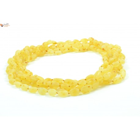 Wholesale LOT of 5 Raw Lemon Amber Adult Necklaces in Bean Style