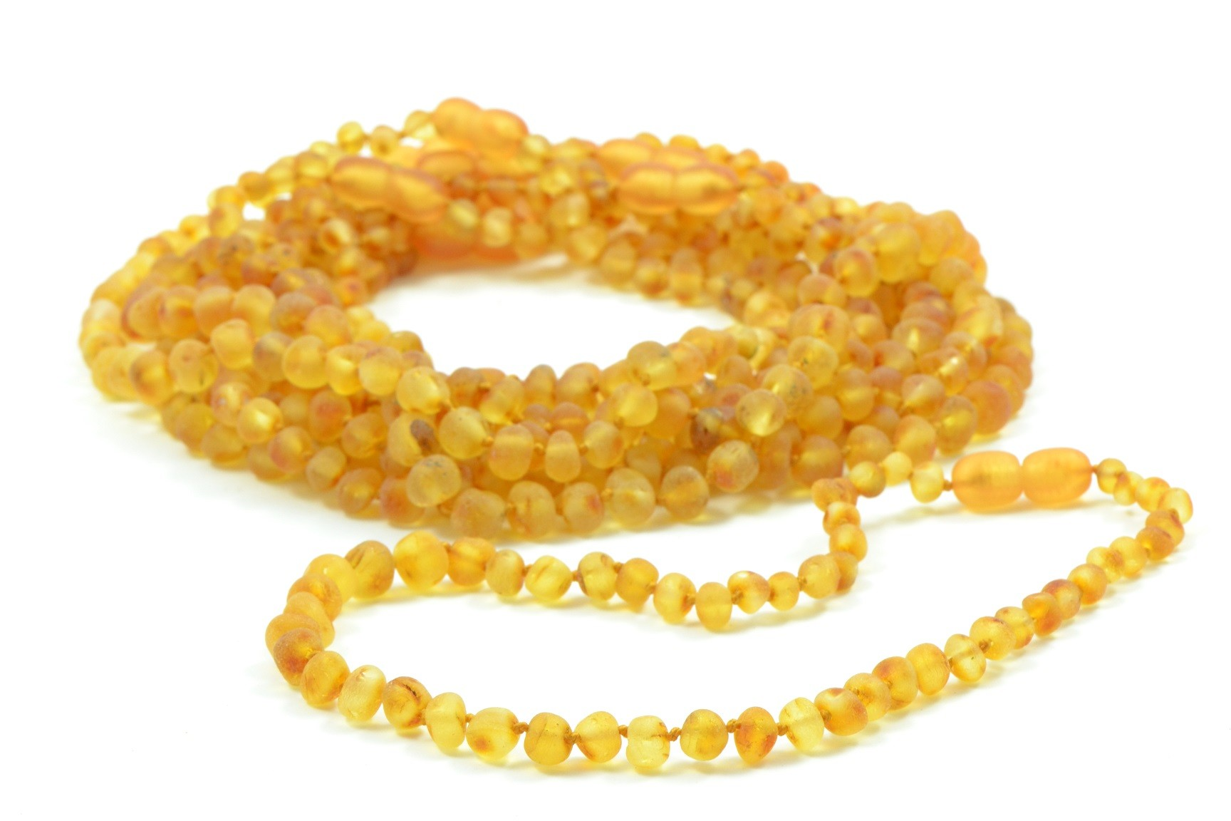 Lot Of 10 Raw Honey Amber Teething Necklaces In Baroque Style