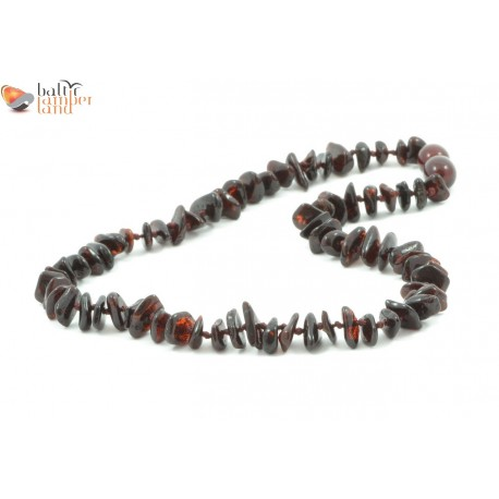 Nugget Style Amber Necklace for Baby in Cherry Color