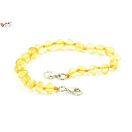 Polished Amber Anklets with Sterling Silver 925