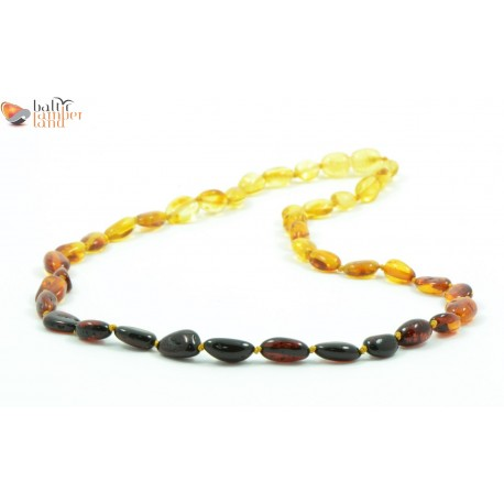 Rainbow Amber Necklace for Adults in Bean Style
