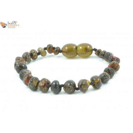 Polished Dark Green Baroque Amber Baby Bracelet / Anklet