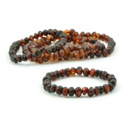 LOT of 5 Dark Cognac Amber Adult Bracelets in Baroque Style