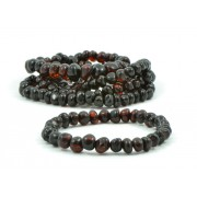LOT of 5 Cherry Baroque Baltic Amber Bracelets for Adults