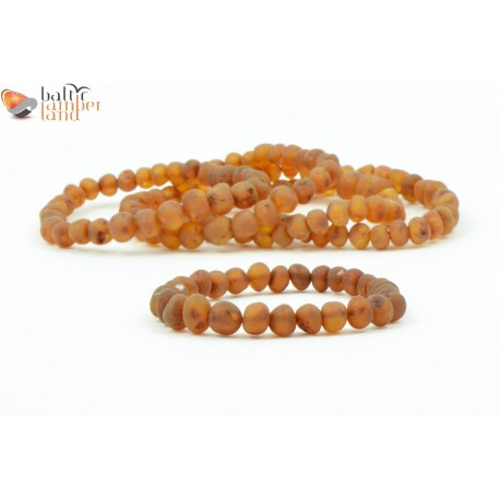 LOT of 5 Unpolished Cognac Amber Bracelets for Adults