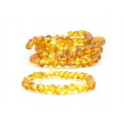 LOT of 5 Honey Polished Amber Adult Bracelets in Baroque Style