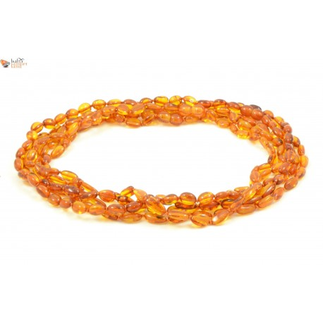 LOT of 5 Cognac Amber Necklaces for Adults in Bean Style