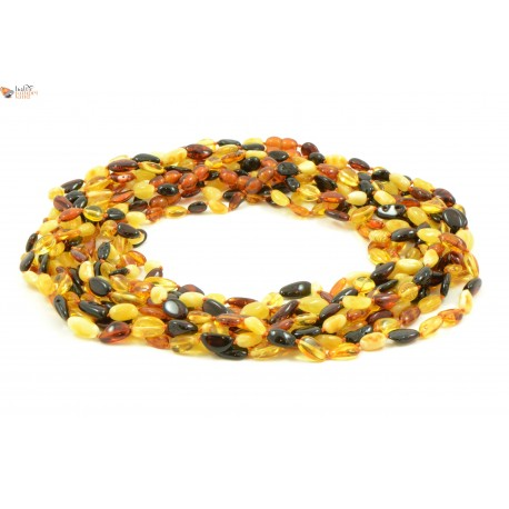 Wholesale LOT of 10 Multicolor Amber Bean Necklaces for Adults