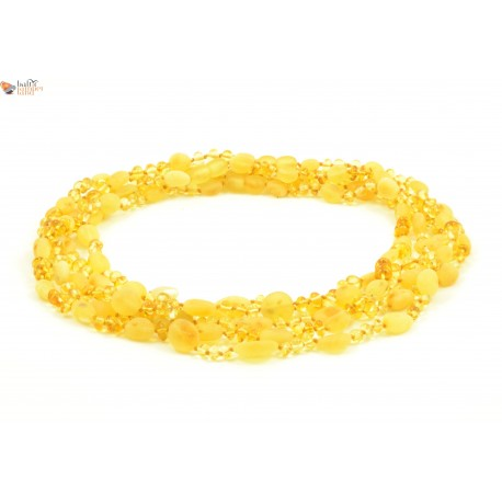 Wholesale LOT of 5 Amber Adult Necklaces in Lemon Color