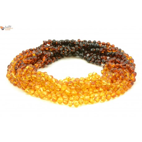 Wholesale LOT of 10 Multicolor Amber Necklaces for Adults in Baroque Style