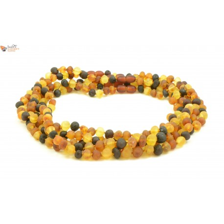 LOT of 5 Unpolished Multicolor Amber Adult Necklaces in Baroque Style