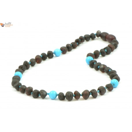 Baroque Amber Teething Necklaces with Turquoise Beads