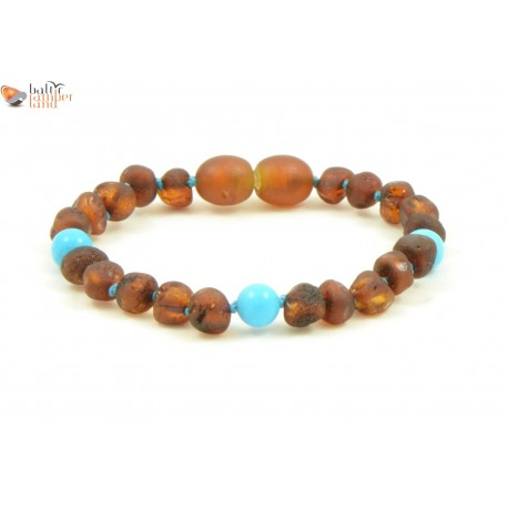 Amber Baby Bracelets / Anklets with Turquoise Beads