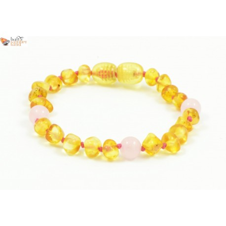 Amber Teething Bracelets / Anklets with Quartz Beads