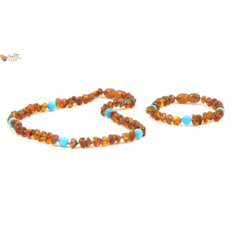 Cognac Baroque Amber Baby Necklace and Bracelet Set with Turquoise Beads