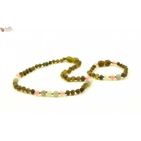 Amber And Quartz Teething Necklace