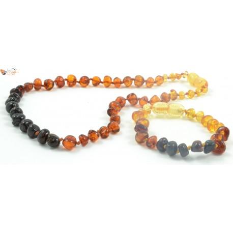 Rainbow Baroque Amber Teething Necklace and Bracelet Set