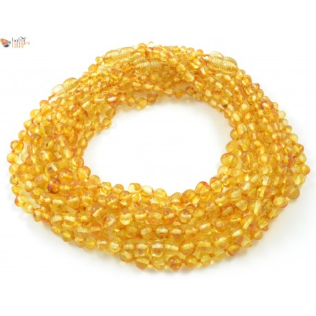 Wholesale LOT of 10 Lemon Baroque Amber Baby Necklaces